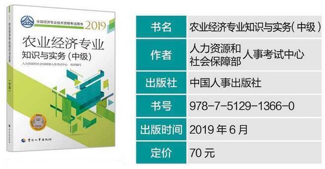 2019年中级经济师考试教材:农业经济专业知识与实务